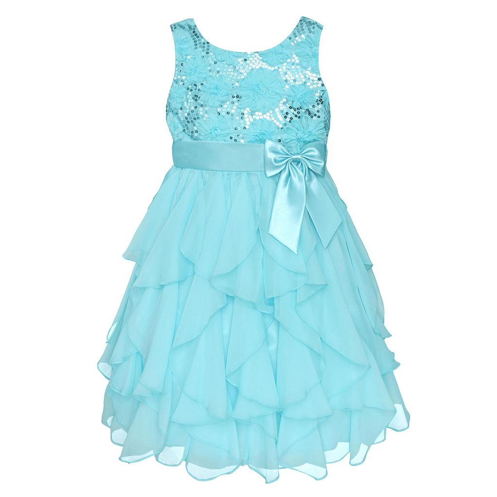 Girls 7-16 & Plus Size American Princess Sequin Bodice & Corkscrew Skirt Dress