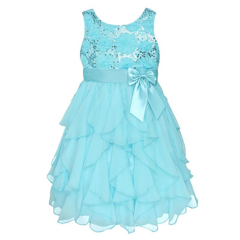 Girls 7-16 & Plus Size American Princess Sequin Bodice & Corkscrew Skirt Dress, Girl's, Size: 10, Med Blue