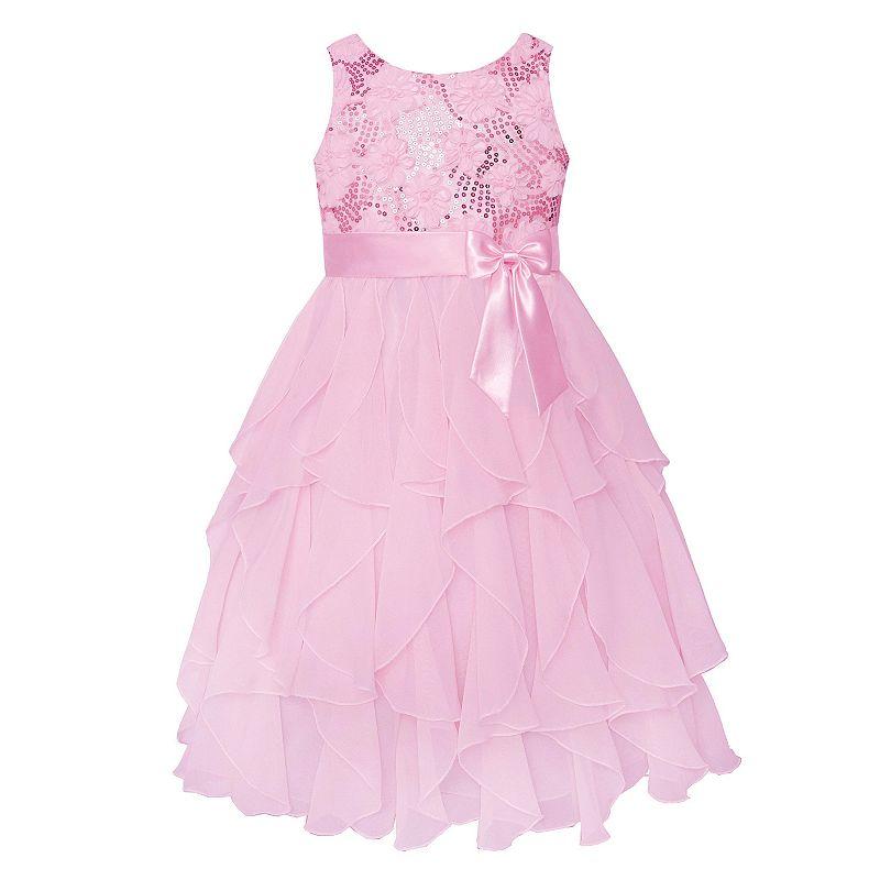 Girls 7-16 & Plus Size American Princess Sequin Bodice & Corkscrew Skirt Dress, Girl's, Size: 10, Pink Ovrfl
