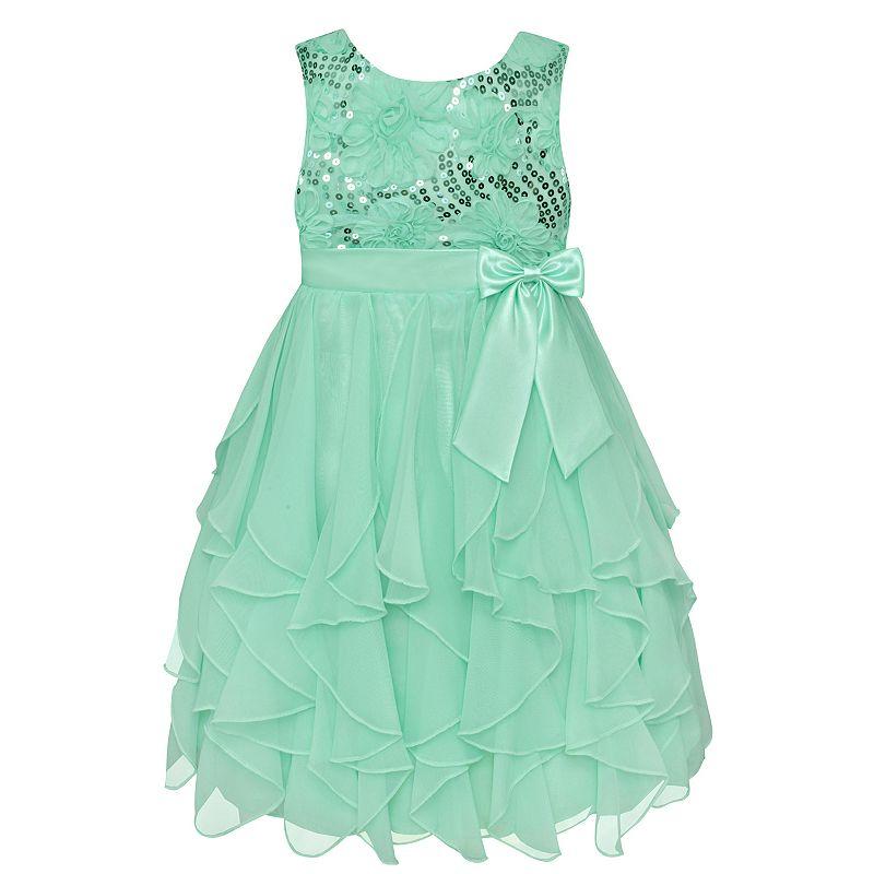 Girls 7-16 & Plus Size American Princess Sequin Bodice & Corkscrew Skirt Dress, Girl's, Size: 10, Lt Green