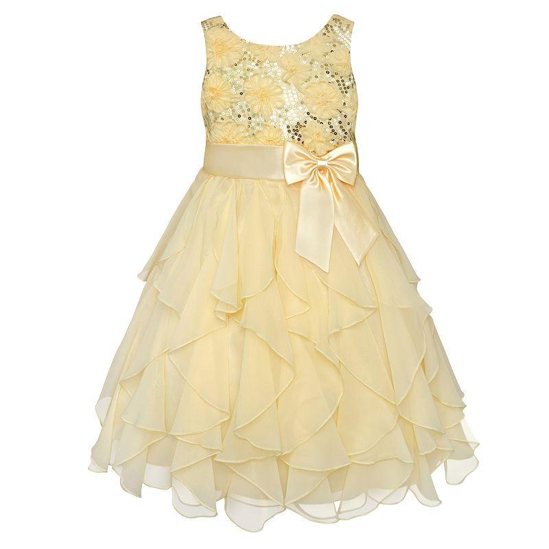 Girls 7-16 & Plus Size American Princess Sequin Bodice & Corkscrew Skirt Dress, Girl's, Size: 10, Yellow
