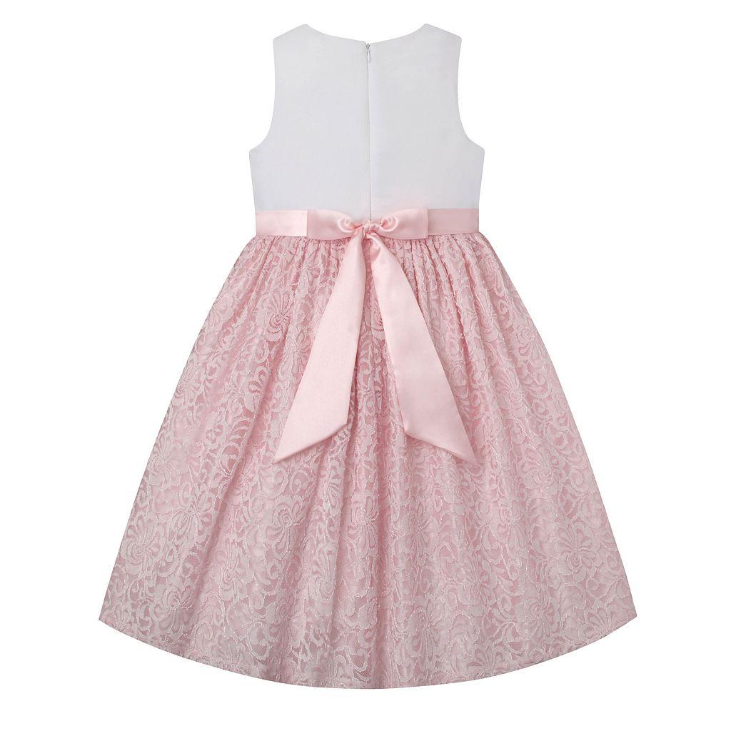 Girls 7-16 & Plus Size American Princess Rhinestone Waist & Lace Skirt Dress