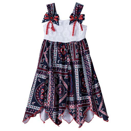 Toddler Girl Blueberi Boulevard Bandana Crochet Patriotic Dress