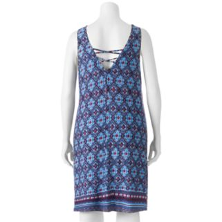 Juniors' Plus Size HeartSoul Print Strappy Swing Dress