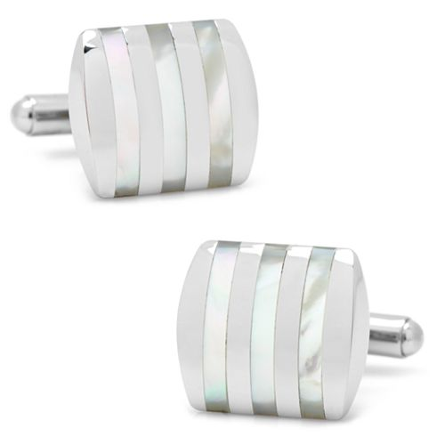 Stainless Steel Striped Cuff Links