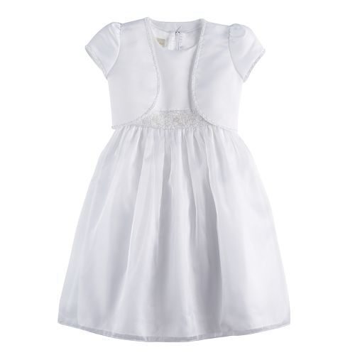 Girls 7-16 & Plus Size American Princess Beaded Trim Dress And Shrug Set