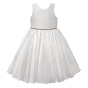 Girls 7-16 & Plus Size American Princess Rhinestone Waist Pleated Communion Dress