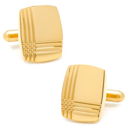 Stainless Steel Gold-Plated Tartan Plaid Cuff Links