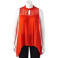 Juniors' Plus Size HeartSoul Handkerchief Hem Mockneck Top