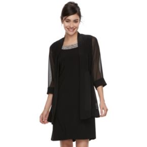 Women's Scarlett Chiffon Shift Dress & Cardigan Set