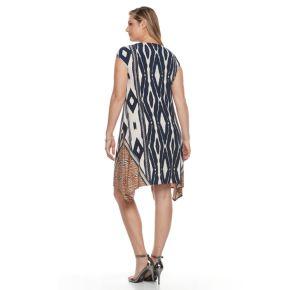Plus Size Suite 7 Geometric Shark-Bite Shift Dress
