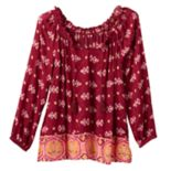 Girls 7-16 & Plus Size Mudd® 3/4-Length Cold Shoulder Peasant Top