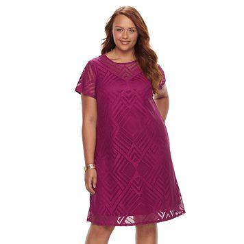 Plus Size Suite 7 Lace Shift Dress