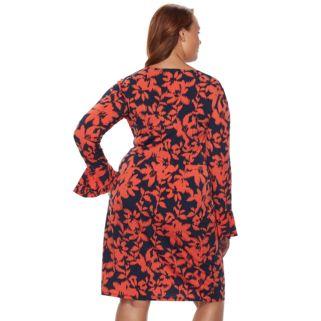 Plus Size Suite 7 Floral Ikat Faux-Wrap Dress