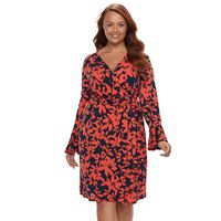 Plus Size Suite 7 Floral Ikat Faux-Wrap Dress