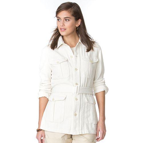 4c9653fb76d Women s Chaps Belted Linen Blend Jacket