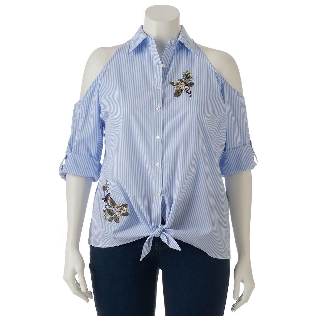 Juniors' Plus Size HeartSoul Embroidered Cold-Shoulder Shirt