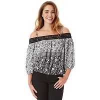 Juniors' IZ Byer Bubble Hem Off Shoulder Top