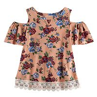 Girls 7-16 Rewind Patterned Ribbed Cold-Shoulder Lace Trim Top