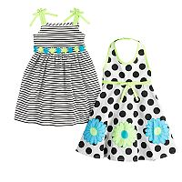 Toddler Girl Bluberi Boulevard 2-pack Polka-Dot & Striped Dresses