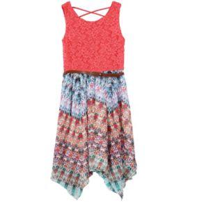 Girls 7-16 Speechless Lace & Chiffon Belted Handkerchief Hem Dress