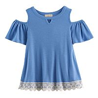 Girls 7-16 Rewind Ribbed Cold-Shoulder Lace Trim Top