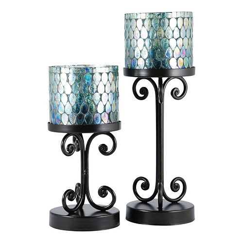 Pomeroy Shimmer Mosaic Pillar Candle Holder 2-piece Set