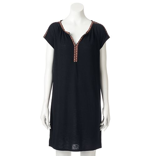 Women's SONOMA Goods for Life™ Embroidered Trim T-Shirt Dress