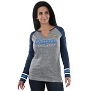 Women's Majestic Los Angeles Chargers Lead Play Tee