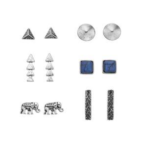 Mudd® Blue Square, Elephant & Triangle Stud Earring Set