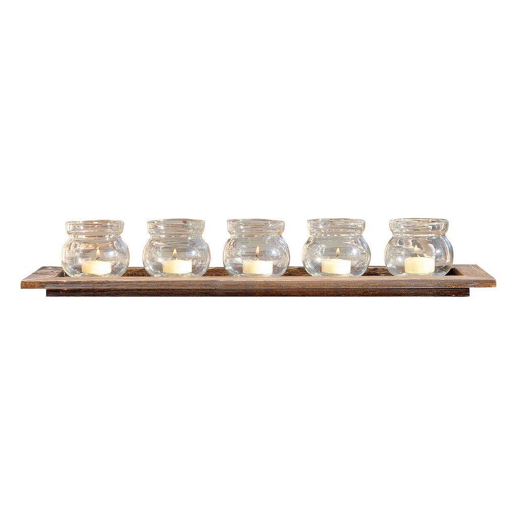 Pomeroy 5-Votive Wood Candle Holder Tray 6-piece Set