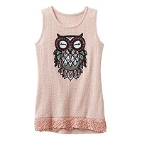 Girls 7-16 Miss Chievous Sequin Applique Lace Trim Knit Tank Top
