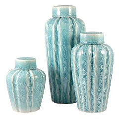 Pomeroy Rippled Finish Ceramic Vase 3-piece Set