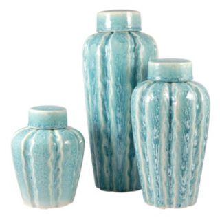 Pomeroy Rippled Finish Ceramic Vase 3-piece Set