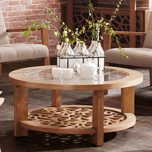 INK+IVY Crackle Round Coffee Table