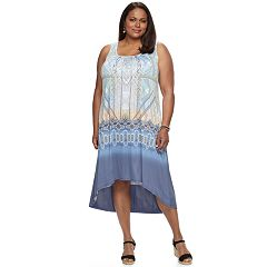 Plus Size World Unity Printed Sublimation High-Low Dress