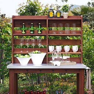 Crosley Furniture Indoor \/ Outdoor Storage Hutch Buffet Table