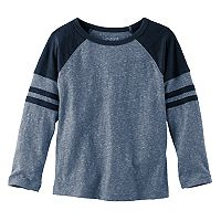 Toddler Boy Jumping Beans® Slubbed & Striped Raglan Long Sleeve Graphic Tee