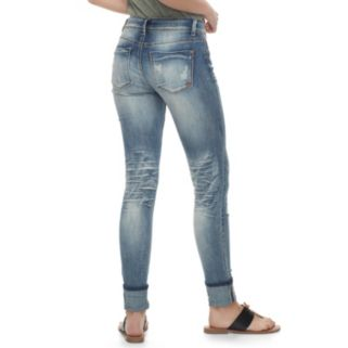 Juniors' Indigo Rein Ripped Ankle Jeans