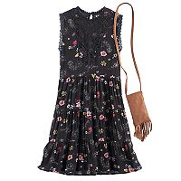 Girls 7-16 Knitworks Floral Tiered Dress with Crossbody Purse