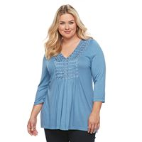 Plus Size World Unity Ladder Stitch Bib Top
