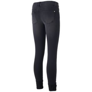 Juniors' Indigo Rein Faded Ankle Skinny Jeans