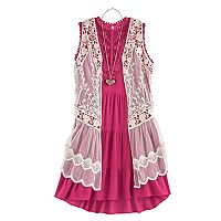 Girls 7-16 Knitworks Crochet Lace Vest & Tiered Dress Set with Necklace