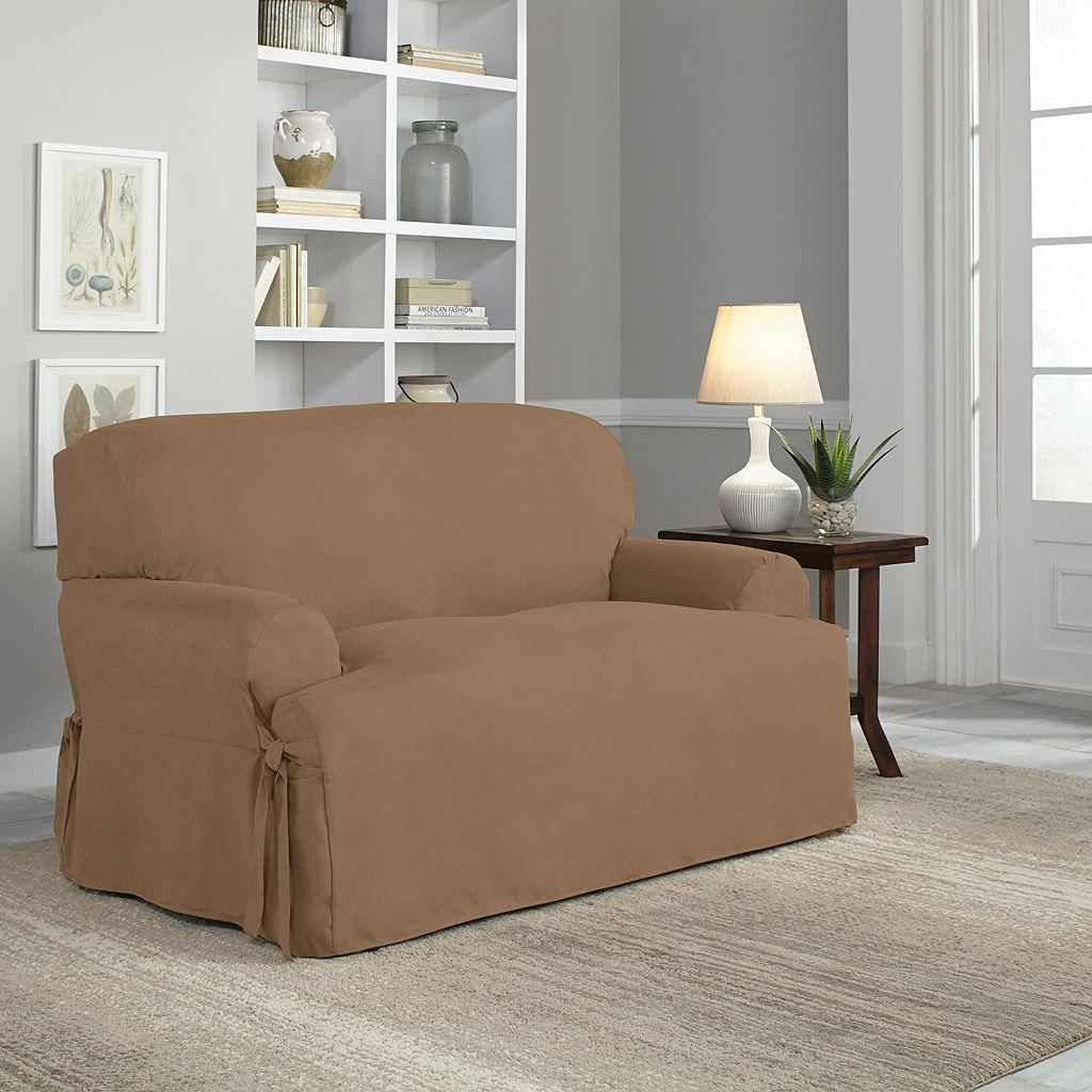 Serta Relaxed Fit Smooth Suede Loveseat Slipcover