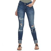 Juniors' Indigo Rein High Cuff Ripped Ankle Jeans