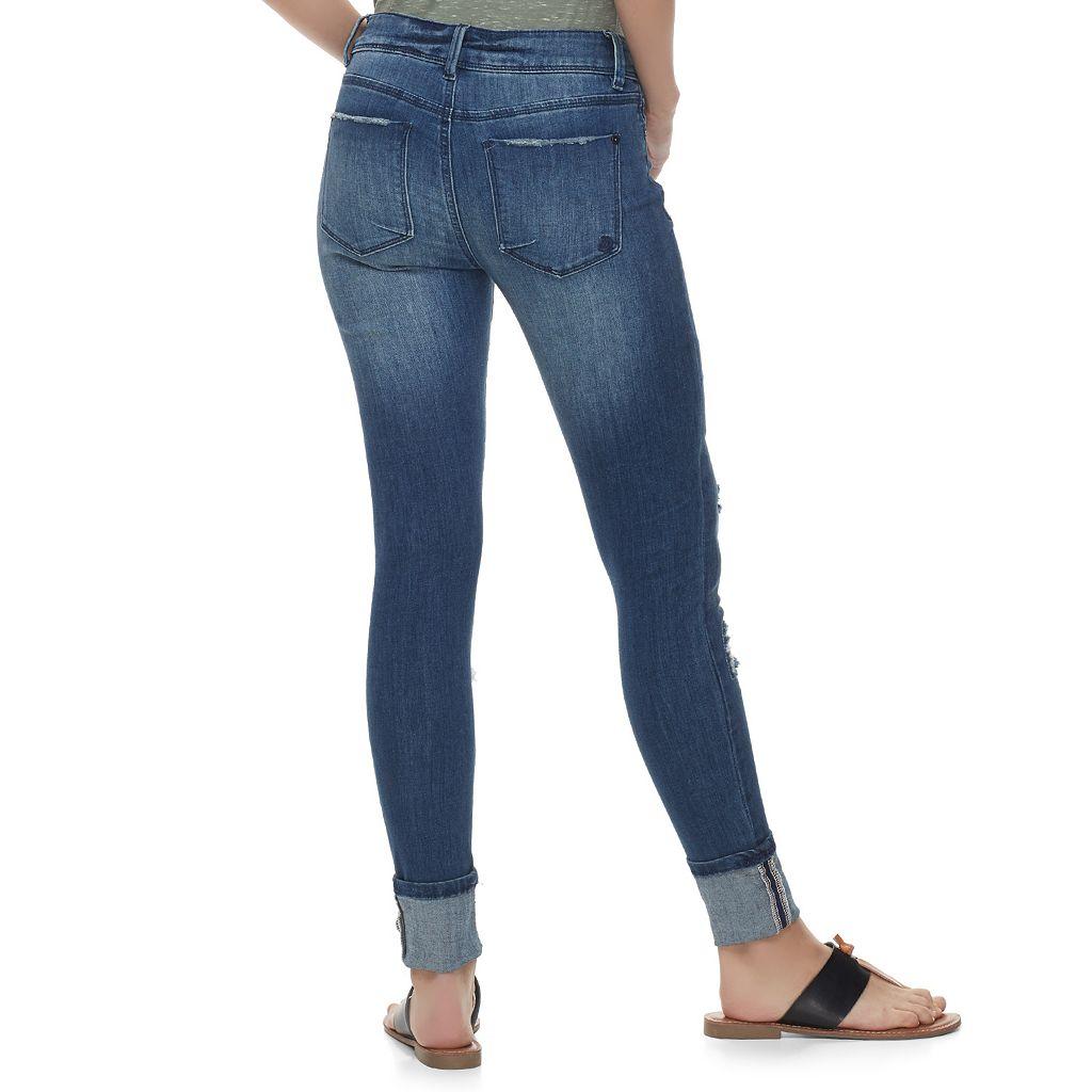 Juniors' Indigo Rein High Cuff Ripped Ankle Jeans