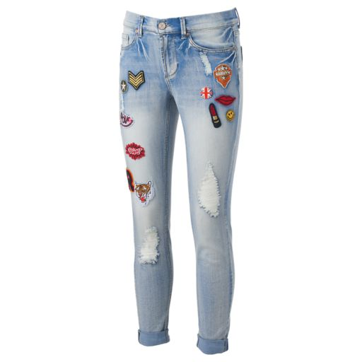 Juniors' Indigo Rein Patch Ripped Skinny Jeans