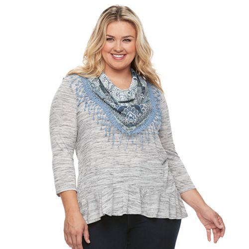 Plus Size World Unity Peplum Top & Scarf Set