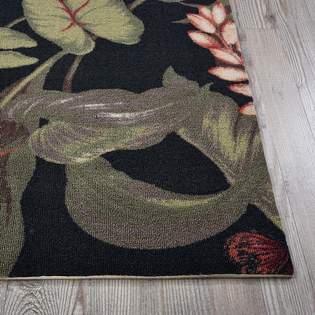 Waverly Sun N' Shade Wilea Coast Floral Black Indoor Outdoor Rug