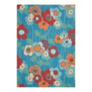 Waverly Sun N' Shade Pick A Poppy Floral Indoor Outdoor Rug